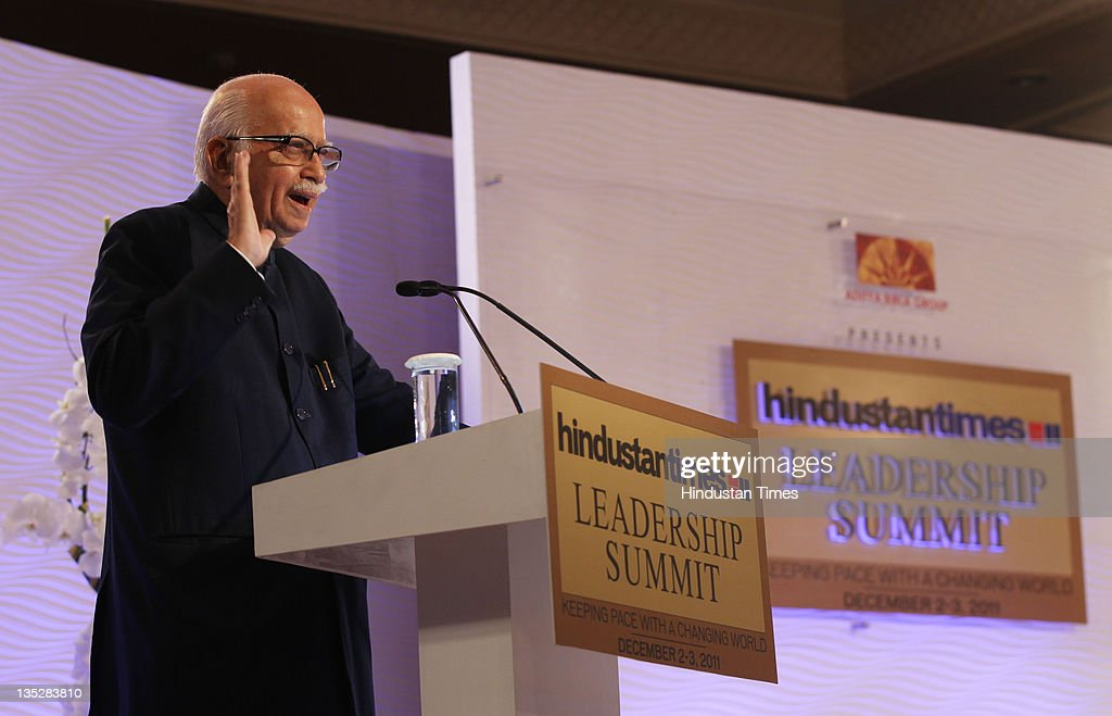Senior BJP Leader L K Advani addressing during the second day of Hindustan Times Leadership Summit 2011 at The Taj Palace Hotel on on December 3, 2011 in New Delhi, India.