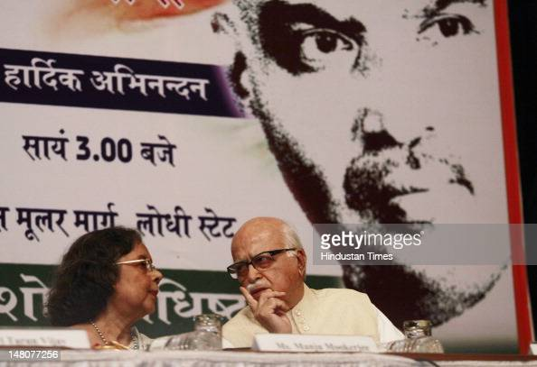 Senior BJP leader L K Advani and Manju Mookerjee Grand Daughter of Dr Shyama Prasad Mukherjee celebrate the birth anniversary of Dr Shyama Prasad at...