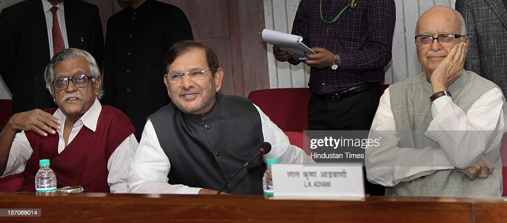 Senior BJP leader L K Advani, JD (U) leader Sharad Yadav and CPI leader Gurudas Dasgupta at the all party meeting on the eve of the winter session at Parliament House, on November 21, 2012 in New Delhi, India.
