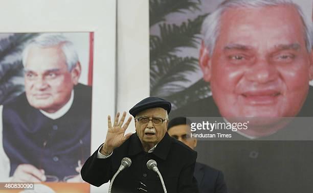 Senior BJP leader Lal Krishna Advani addressing a gathering during the book release 'HAMARE ATAL JI' on the former PM Atal Bihari Vajpayee's birthday...