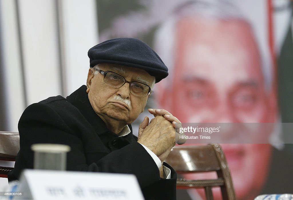 Senior BJP leader <a gi-track='captionPersonalityLinkClicked' href=/galleries/search?phrase=Lal+Krishna+Advani&family=editorial&specificpeople=653020 ng-click='$event.stopPropagation()'>Lal Krishna Advani</a> during the book release, 'HAMARE ATAL JI', on the former PM Atal Bihari Vajpayee's birthday at speaker hall, constitution club on December 25, 2014 in New Delhi, India. Vajpayee, a charismatic personality who crafted consensual politics that found acceptability across the political spectrum, was chosen for the country's highest civilian award Bharat Ratna along with late educationist and freedom fighter Madan Mohan Malviya. Success didn't come easily for Vajpayee, who was born on Christmas Day in 1924 in Gwalior into a family of moderate means. His father was a teacher. His first stint as prime minister in 1996 lasted 13 days, from May 16 to 28. The second one ran for 13 months, from March 19, 1998. But he learnt his lessons from failures to preside over a National Democratic Alliance (NDA) that took office Oct 13, 1999, and completed a five-year term. His was the first multi-party coalition in India to do so.