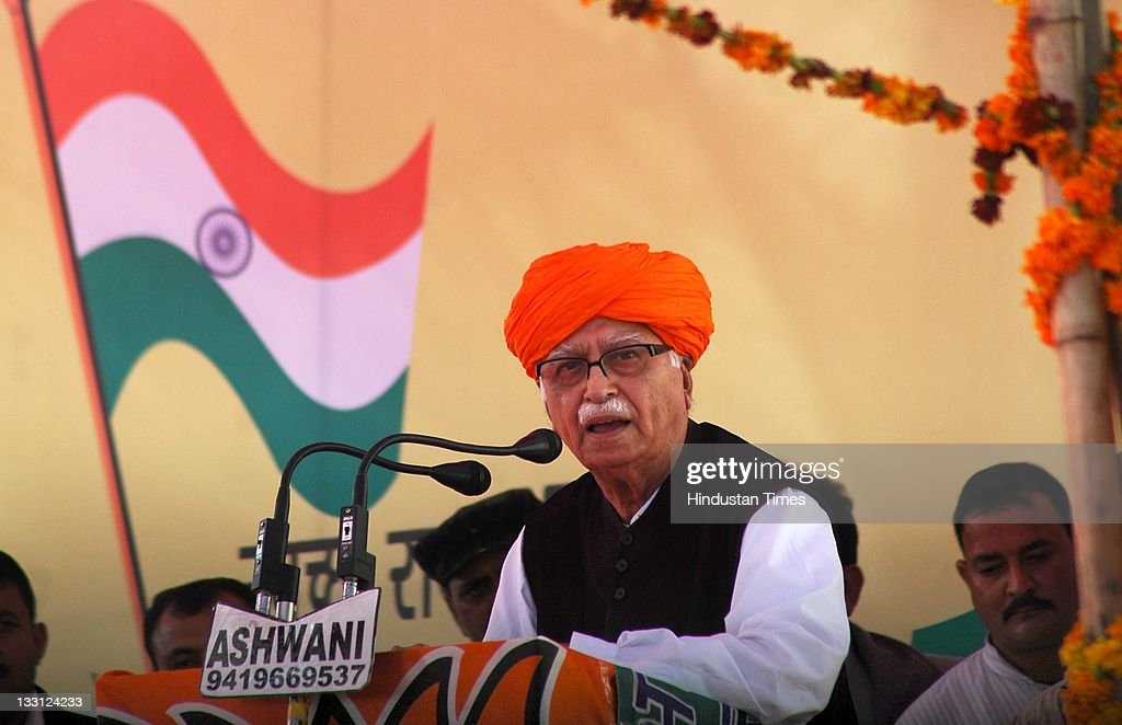 Senior BJP Leader L.K Advani addresses a public rally during his 'Jan Chetna Yatra' on November 16, 2011 in Jammu, India.