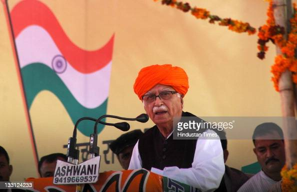 Senior BJP Leader LK Advani addresses a public rally during his 'Jan Chetna Yatra' on November 16 2011 in Jammu India