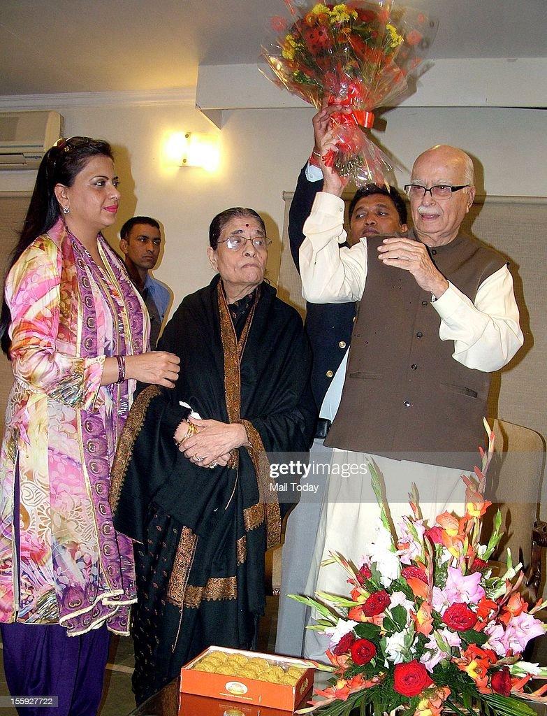 Senior BJP leader LK Advani along with his wife Kamla Advani and daughter Prathibha Advani receiving his birthday wishes in New Delhi on Thursday.