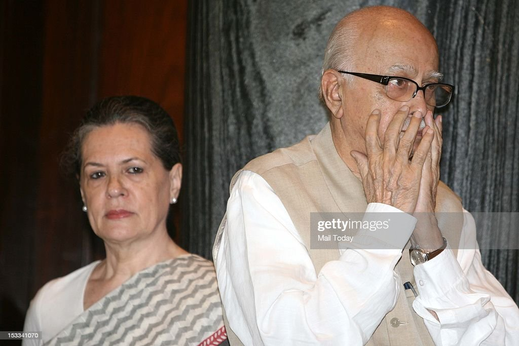 Senior BJP leader LK Advani and UPA Chairperson Sonia Gandhi during a function on the occasion of Mahatma Gandhi's 143rd birth anniversary at Parliament House in New Delhi on Tuesday.