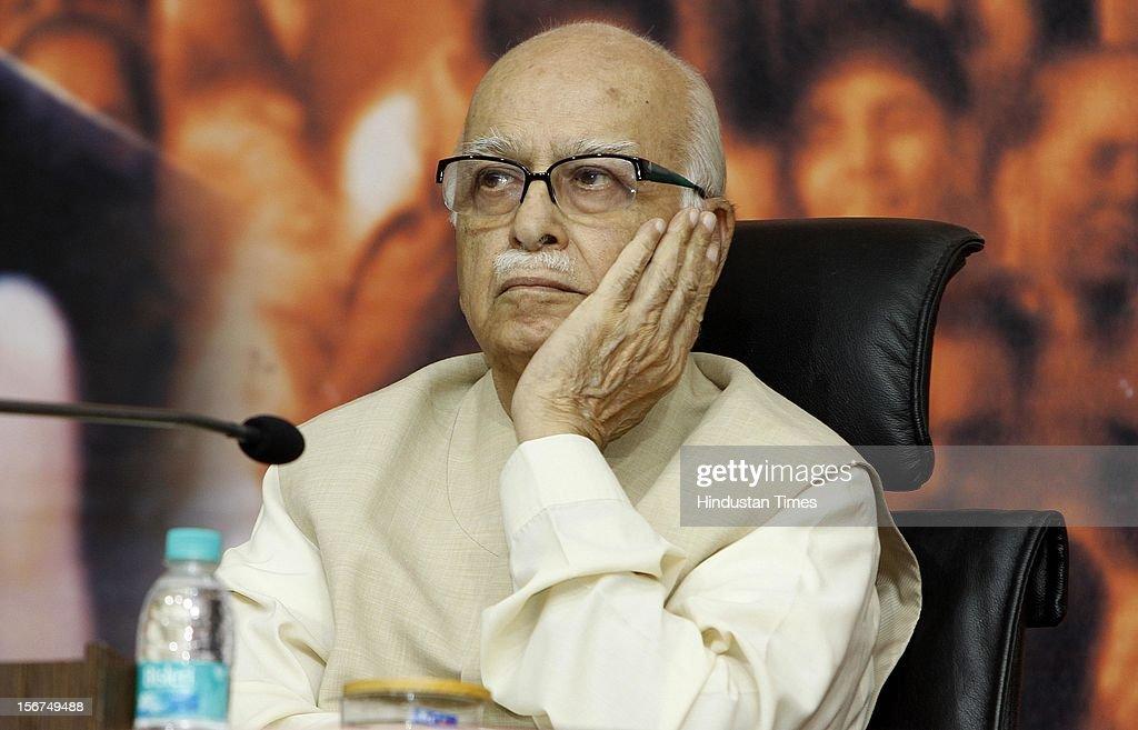 'NEW DELHI, INDIA- OCTOBER 20: Senior BJP leader LK Advani during a talk on ''Globalisation and Indian Society'' organized by Swami Vivekananda Study Circle at Ashoka Road on October 20, 2012 in New Delhi, India. ( Photo By Sonu Mehta/Hindustan Times via Getty Images)'