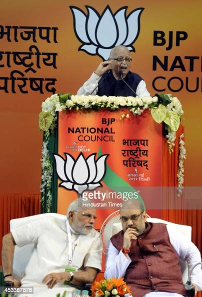 Senior BJP leader LK Advani Prime Minister Narendra Modi and Bharatiya Janata Party National President Amit Shah during the BJP National Council...