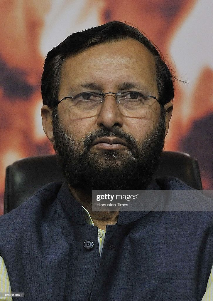 Senior BJP leader Prakash Javadekar during a press conference at the party office on May 22, 2013 in New Delhi, India. Attacking the UPA-II government on its fourth anniversary, BJP leaders said that government has failed to provide leadership, keep its coalition together, improve the economy, check corruption, or ensure national security and safety of women.