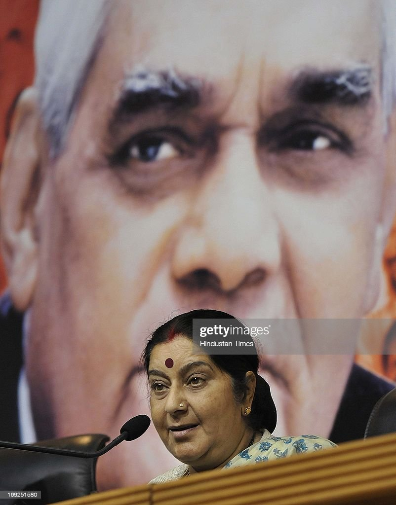 Senior BJP leader Sushma Swaraj briefs media personnel at a press conference at the party office on May 22, 2013 in New Delhi, India. Attacking the UPA-II government on its fourth anniversary, they said that government has failed to provide leadership, keep its coalition together, improve the economy, check corruption, or ensure national security and safety of women.