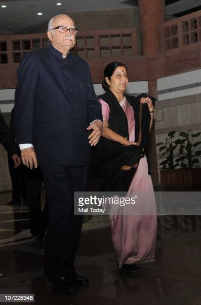 Senior BJP leaders LK Advani and Sushma Swaraj after an allparty meeting convened by Lok Sabha Speaker Meira Kumar in New Delhi on November 30 2010