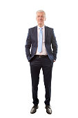 Full length portrait of a senior businessman standing at isolated white background.