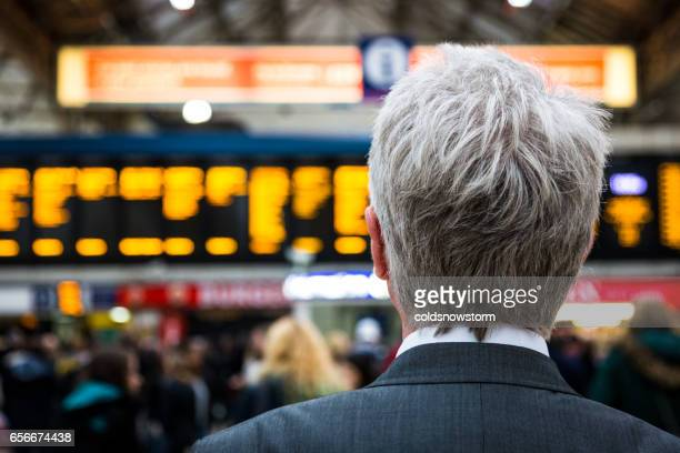 Senior businessman waiting for train with departure boards in background, London, UK
