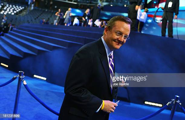 Senior campaign adviser for US President Barack Obama Robert Gibbs is seen on the floor during day one of the Democratic National Convention at Time...
