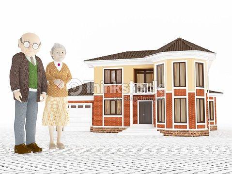 Senior Cartoon Couple Standing In Front Of Big House Stock Photo - Big cartoon house