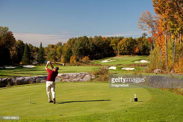 Senior Caucaisan Golfer on the Tee in Fall