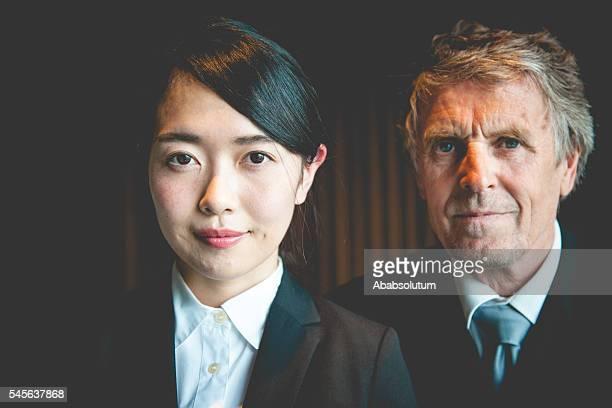 Senior Caucasian Businessman and Female Japanese Entrepreneur, Kyoto, Japan