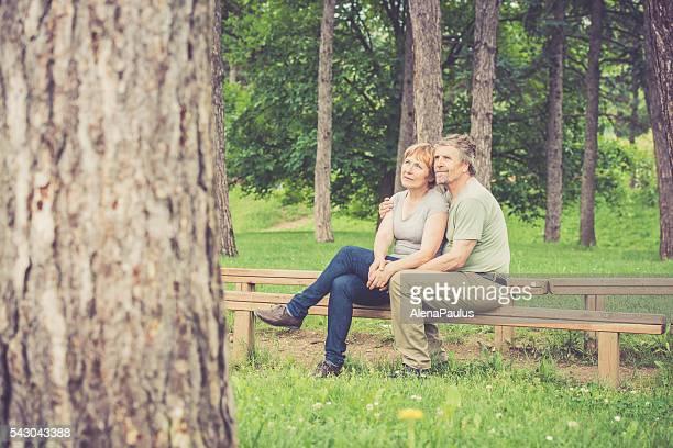 Senior caucasian couple holding outdoors - romantic date