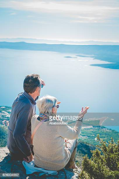 Senior Caucasian Couple on Vidova Gora, Brac, Dalmatia, Croatia, Europe