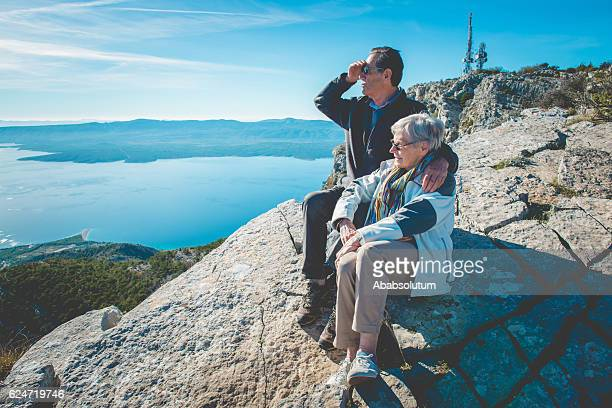 Senior Caucasian Couple on Vidova Gora in Brac, Croatia, Europe