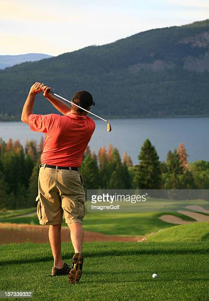 Senior Caucasian Male Golfer on the Tee