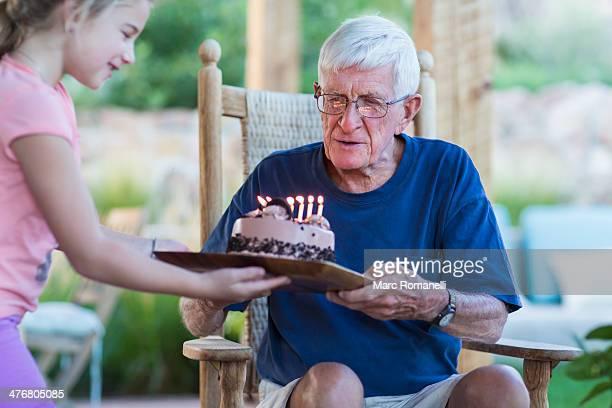 Senior Caucasian man celebrating birthday