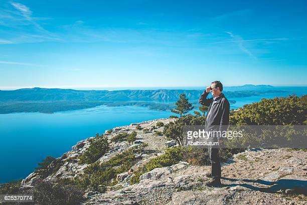 Senior Caucasian Man on Vidova Gora in Brac, Croatia, Europe