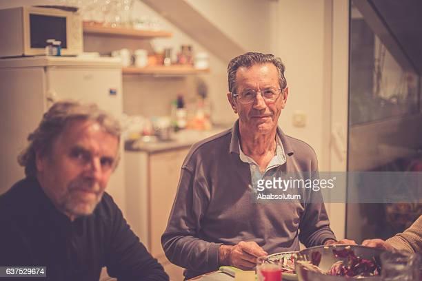 Senior Caucasian People Eating Dinner, Brac, Croatia, Europe