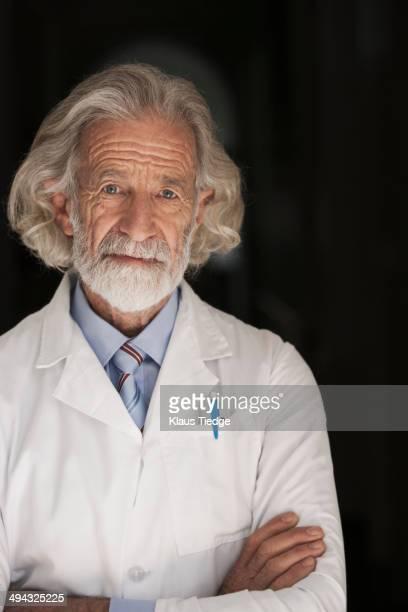 Senior Caucasian scientist