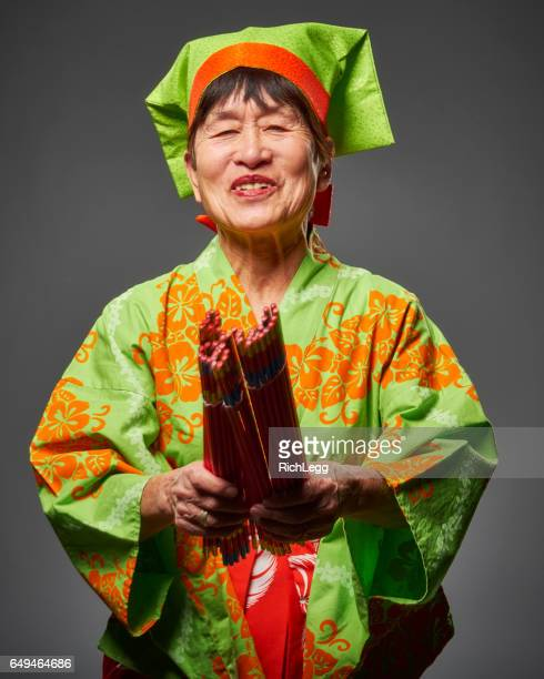 Senior Citizen aged Japanese Woman in Tamasudare Dance Clothing