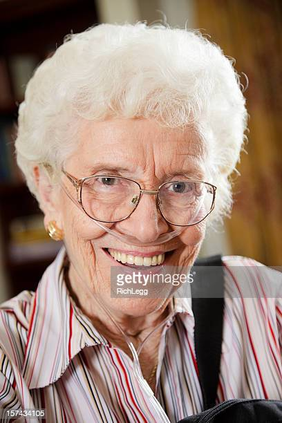 Senior Citizen Woman with Oxygen Tube