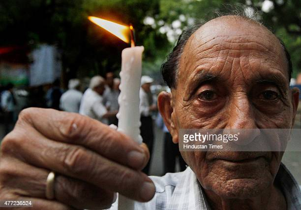 Senior citizens of Delhi during the candle march on the occasion of World Elder Abuse Awareness Day at Jantar Mantar on June 15 2015 in New Delhi...