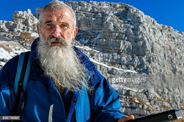 Senior Climber with Long Beard, Kanin, Julian Alps, Slovenia, Europe.