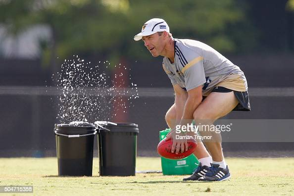 Senior coach Alastair Clarkson look on during a Hawthorn Hawks AFL preseason training session at Waverley Park on January 13 2016 in Melbourne...