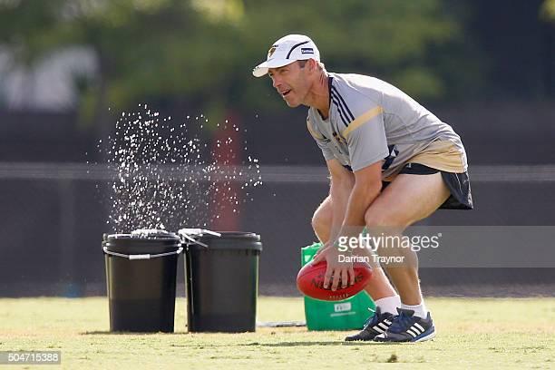 Senior coach Alastair Clarkson look on during a Hawthorn Hawks AFL preseason training session at Waverley Park on January 13 2016 in Melbourne...