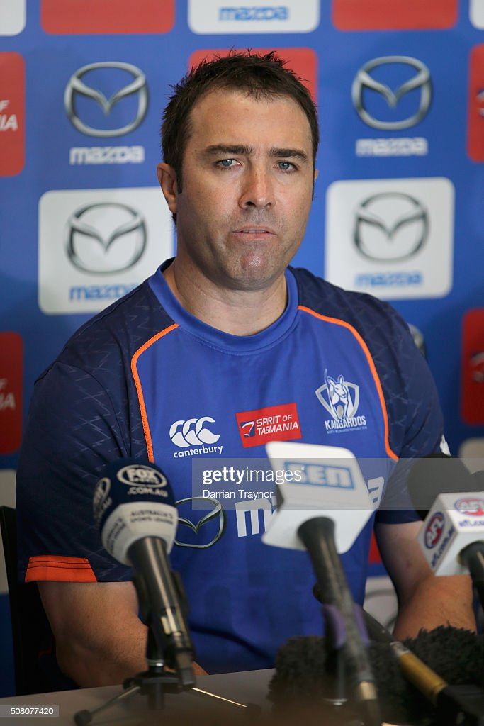 Senior Coach Brad Scott speaks during an North Melbourne Kanagroos AFL media session at Arden Street Ground on February 3 2016 in Melbourne Australia