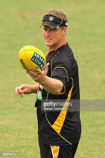 Senior Coach Damien Hardwick looks on during a Richmond Tigers AFL training session at ME Bank Centre on February 13 2014 in Melbourne Australia