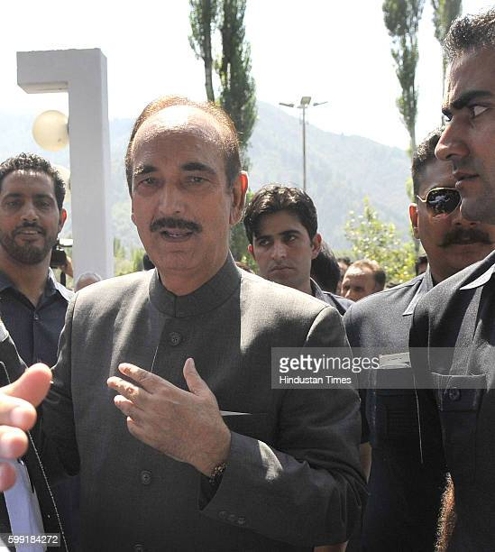 Senior Congress leader Ghulam Nabi Azad arrives for allparty delegation meeting at SheriKashmir International Conference Centre on September 4 2016...