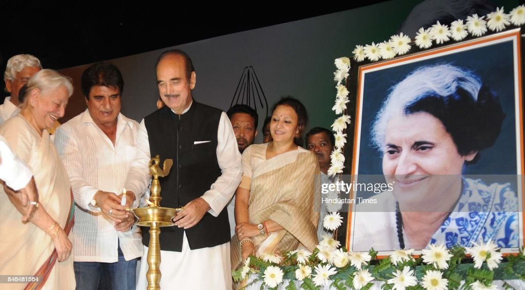 Senior Congress leader Ghulam Nabi Azad with UP Congress President Raj Babbar lighting the lamp during the birth centenary celebrations of former Prime Minister Indira Gandhi, on September 13, 2017 in Lucknow, India.