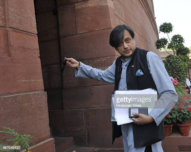 Senior Congress leader Shashi Tharoor during Budget Session of Parliament on March 20 2015 in New Delhi India Upper House of Parliament passed the...
