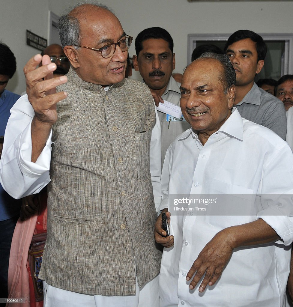 Senior Congress leaders Digvijaya Singh and AK Antony talking to media personnel regarding upcoming Mega Kisan Rally on April 17, 2015 in New Delhi, India. Congress party is organizing a mega farmer rally on April 19 at Ram Lila ground against the Land Acquisition bill.