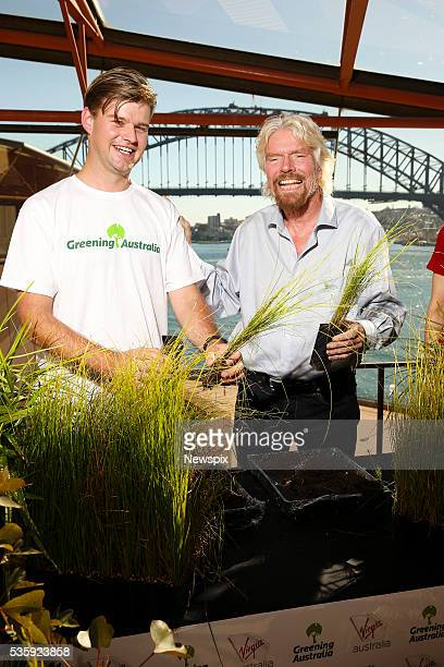 Senior Conservation Officer Michael Vyse and businessman Sir Richard Branson launch Virgin Australia and Greening Australia initiative at the Sydney...