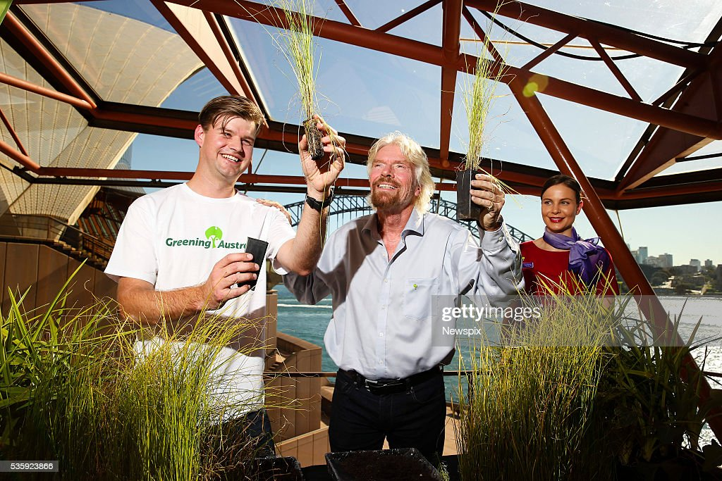 Senior Conservation Officer Michael Vyse and businessman Sir <a gi-track='captionPersonalityLinkClicked' href=/galleries/search?phrase=Richard+Branson&family=editorial&specificpeople=220198 ng-click='$event.stopPropagation()'>Richard Branson</a> launch Virgin Australia and Greening Australia initiative at the Sydney Opera House in Sydney, New South Wales. The initiative is to try to address soil erosion and save the Great Barrier Reef.