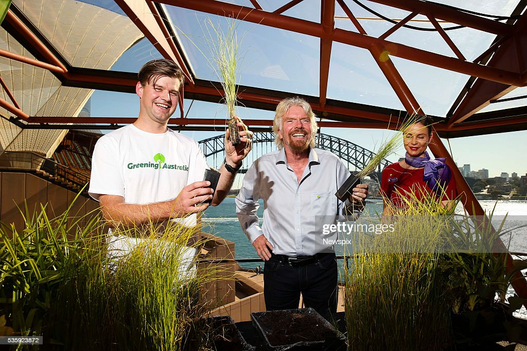Senior Conservation Officer Michael Vyse and businessman Sir Richard Branson launch Virgin Australia and Greening Australia initiative at the Sydney Opera House in Sydney, New South Wales. The initiative is to try to address soil erosion and save the Great Barrier Reef.
