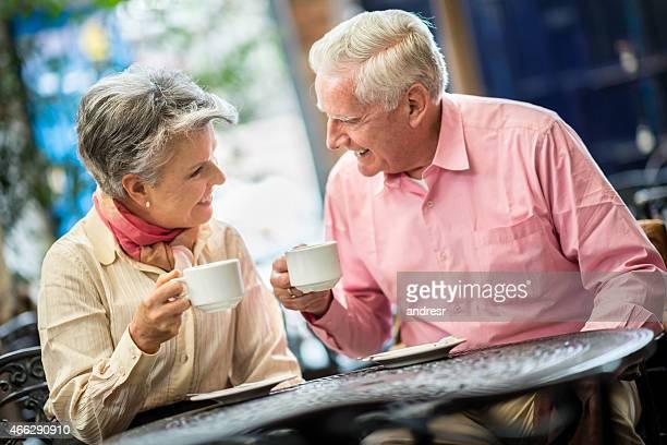 Senior couple at a cafe
