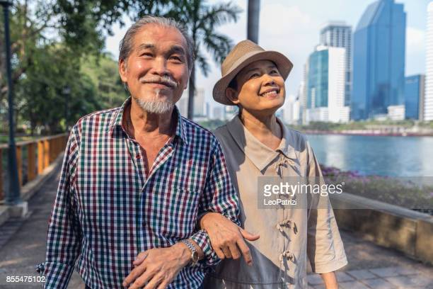 Senior couple candid moments together having a vacation