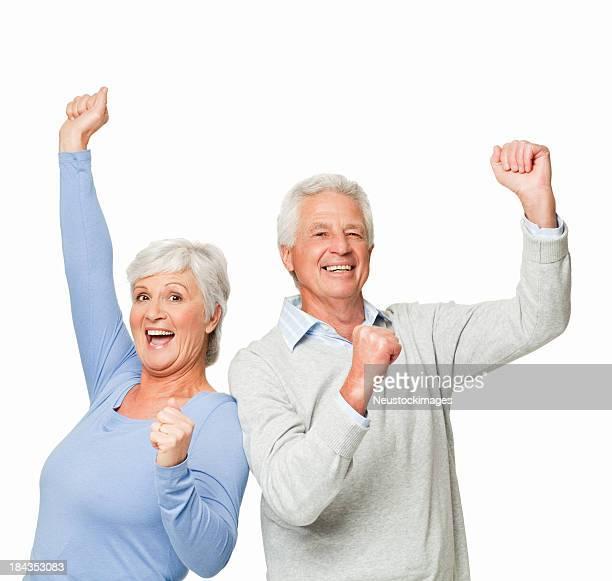 Altes Paar feiert-isoliert