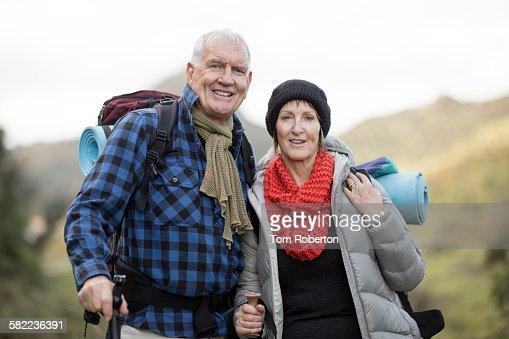 Senior couple during hike