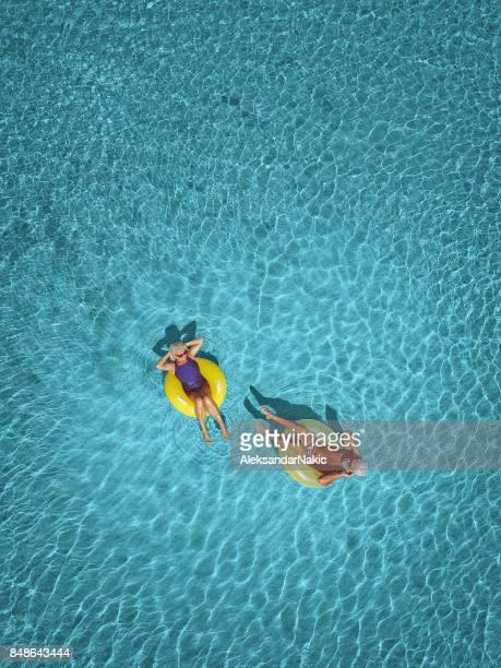 Senior couple enjoy sea water