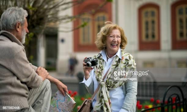 Senior couple enjoying the moment
