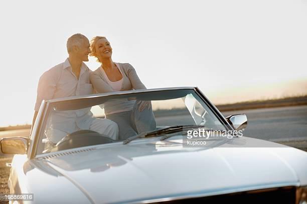 Senior couple enjoying the ride